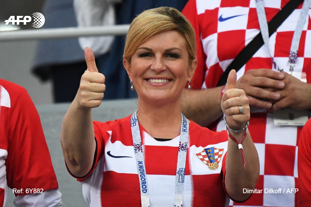 Croatian President Kolinda Grabar-Kitarovic attends a World Cup match between Croatia and Denmark on July 1, 2018