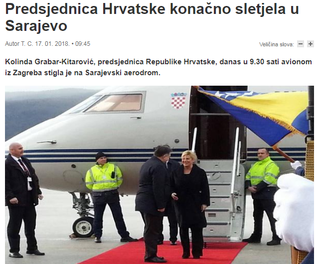 The Croatian President disembarks from the official Croatian plane in January 2018 in Sarajevo (Bosnia and Herzegovina)