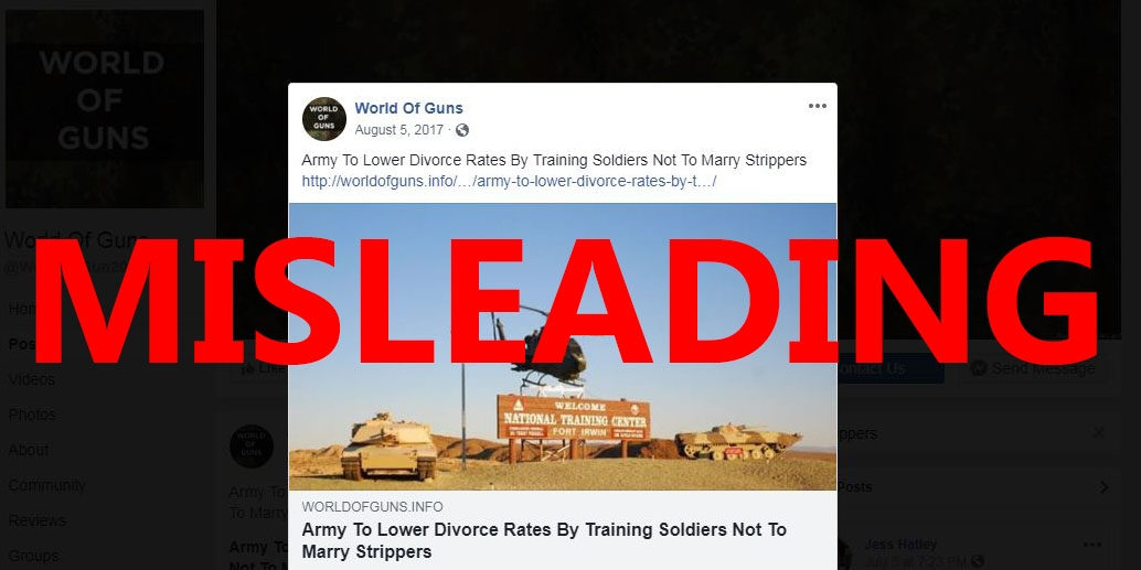 Screenshot of a Facebook post from World of Guns