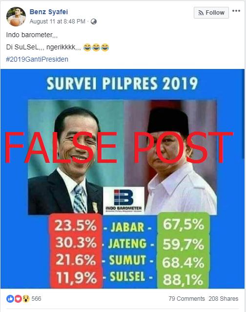 Screenshot of false post