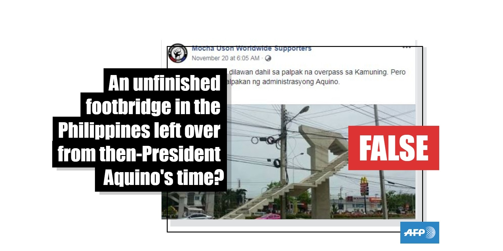 No, this photo does not show a footbridge in the Philippines that was left unfinished during the term of then-president Benigno Aquino