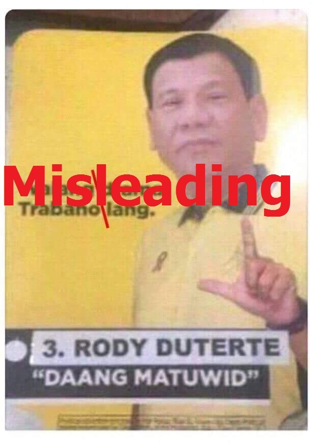 No, this photo does not show Philippine President Rodrigo Duterte run for the rival party in 2016