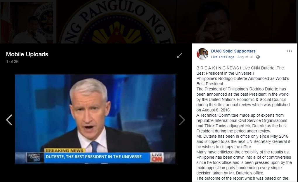 Screenshot Of Post On Facebook Stating A Un Body Has Named Philippine Leader Rodrigo Duterte The