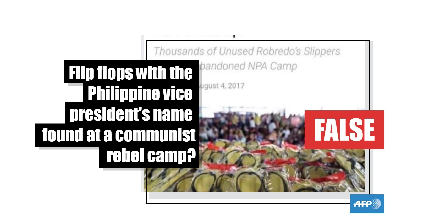 No, this photo does not show flip flops with the Philippine vice president's name at an abandoned communist rebel camp