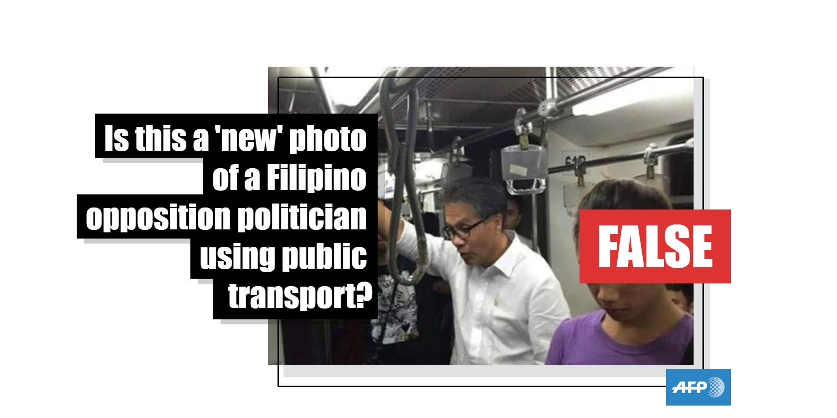 No, this is not a new photo of an Filippino opposition politician using public transport