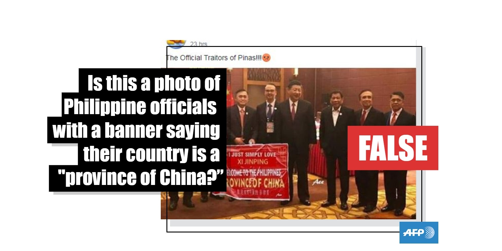 """No, this is not a photo of Chinese President Xi Jinping being welcomed to Manila with a banner saying the Philippines is a """"province of China"""""""
