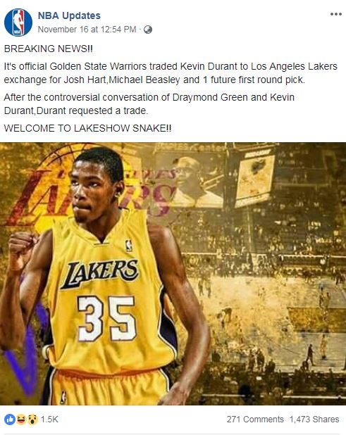 Screenshot of the Facebook post which claims top NBA player Kevin Durant has been traded to the Los Angeles Lakers