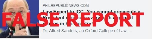 No, a law professor from Oxford University did not say Duterte cannot be prosecuted by the International Criminal Court because has high ratings