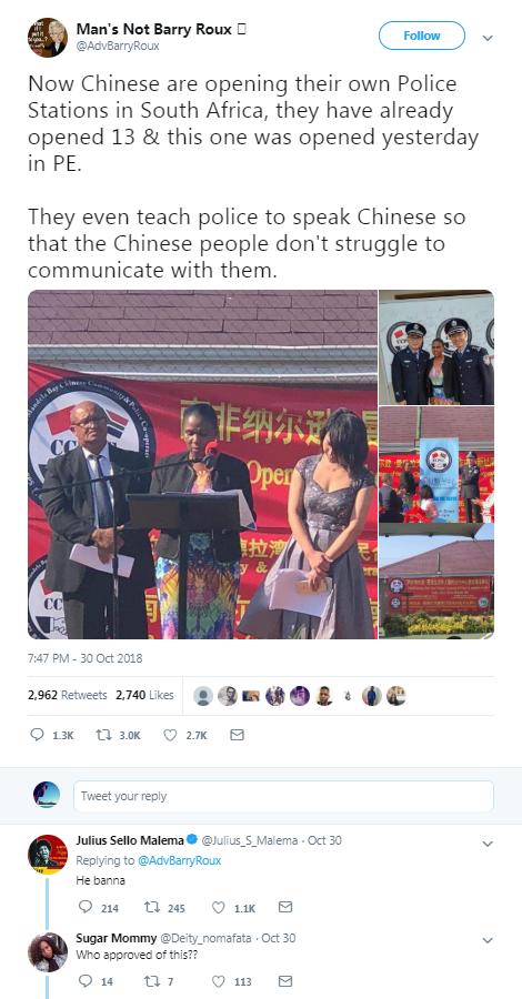 a screenshot of the tweet on October 30, 2018