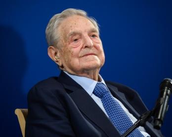 Hungarian-born US investor and philanthropist George Soros looks on after having delivered a speech on the sidelines of the World Economic Forum (WEF) annual meeting, on January 23, 2020 in Davos, eastern Switzerland.