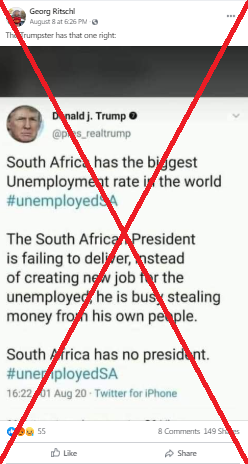 Tweet lamenting South Africa's jobless numbers comes from a fake Trump account
