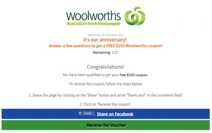 Australian Authorities And Supermarket Chain Woolworths Said The Coupon Offer Was A Scam Fact Check