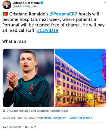Cristiano Ronaldo is turning his hotels into hospitals