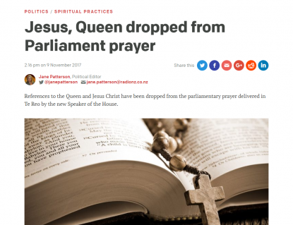 Image result for New Zealand removed reference to Jesus from parliamentary prayer because it offends Muslims