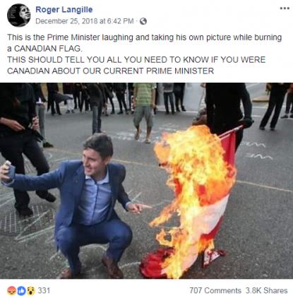 Bewerkte foto van Trudeau die een selfie maakt bij een brandende Canadese vlag