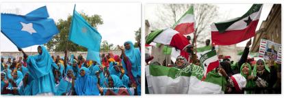 Somaliland and Somalia flag-waving women