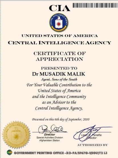 certificate cia appreciation afp pakistan pakistani politician doctored screenshot fact