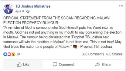 Nigerian preacher TB Joshua denies claims of a Malawi
