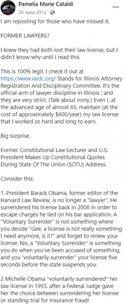 Post Falsely Claims Obamas Gave Up Law Licenses Over Misconduct