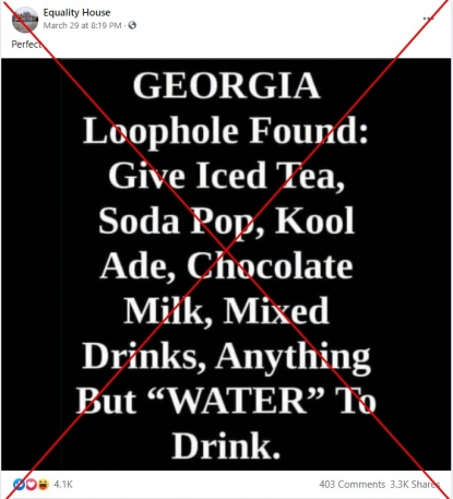 Georgia law bars giving voters all beverages, not just water | Fact Check
