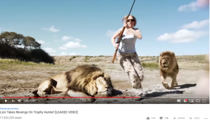 A couple of poachers attacked by a lion? This is a fake