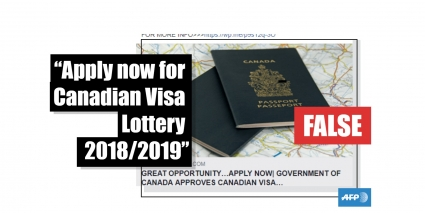 Canada does not have a visa lottery program | AFP Fact Check