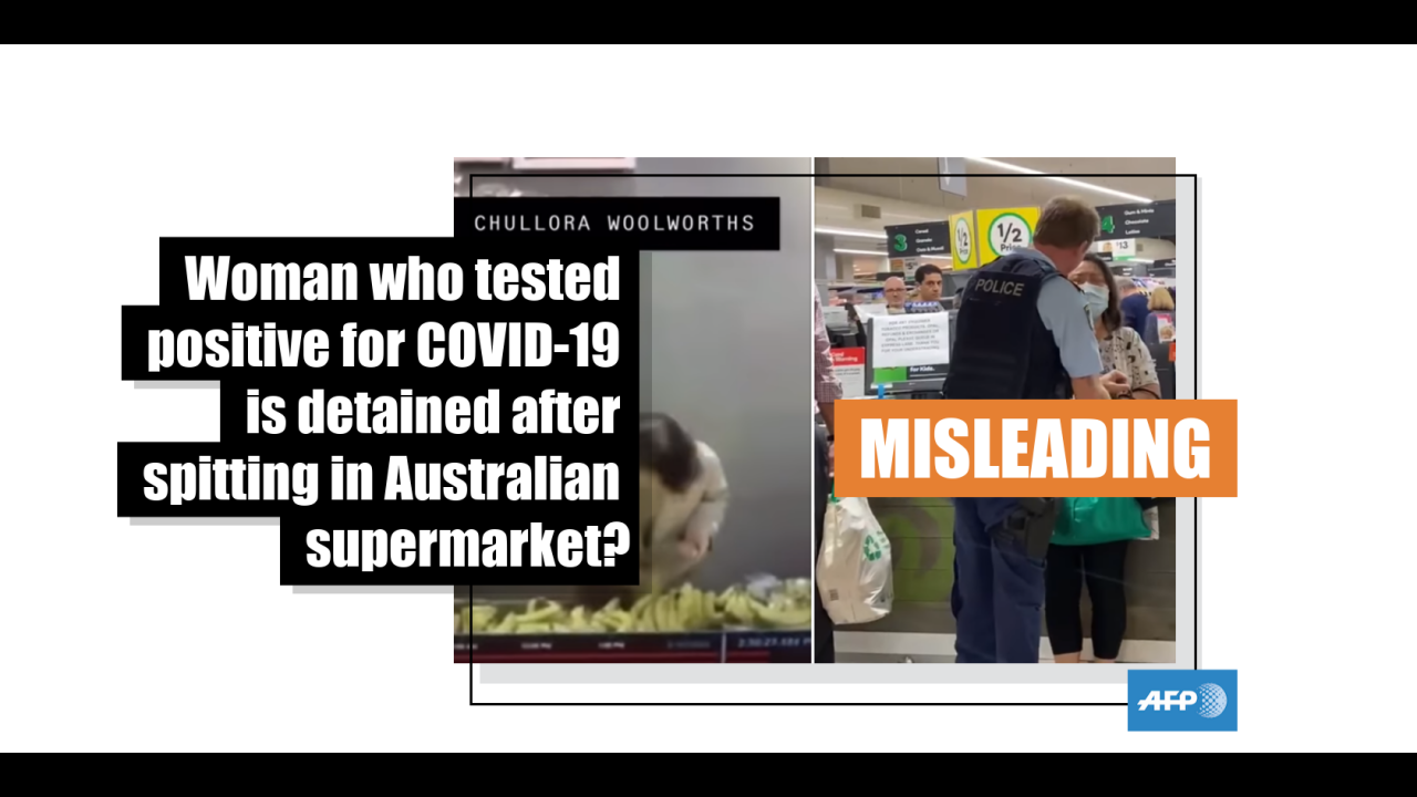 This video shows two separate incidents involving different women in supermarkets
