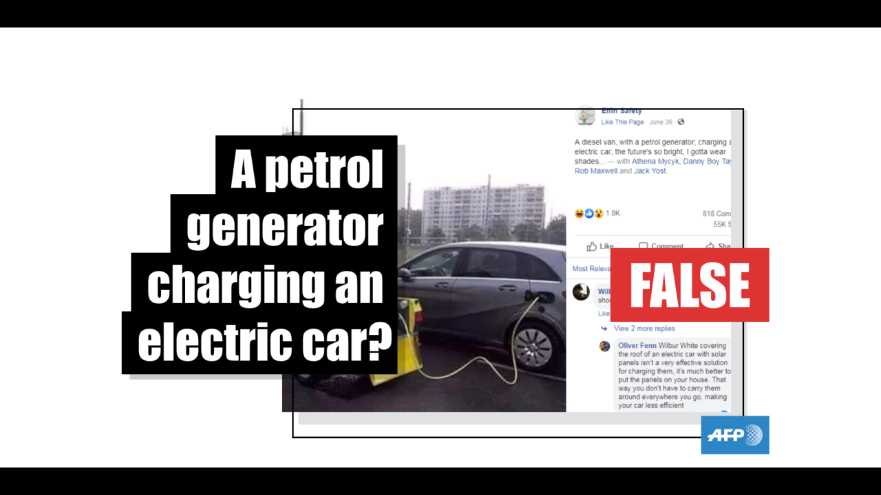 No This Is Not A Petrol Generator Charging An Electric Car Fact Check