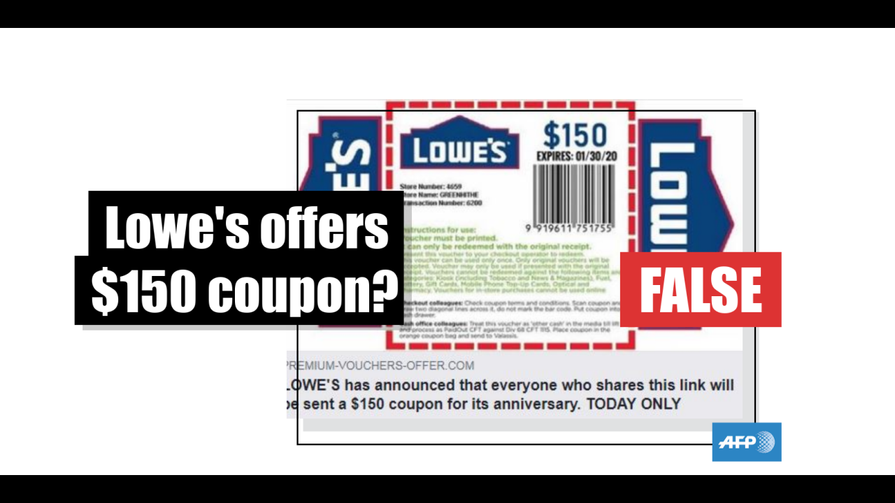 lowes $150 coupon on facebook
