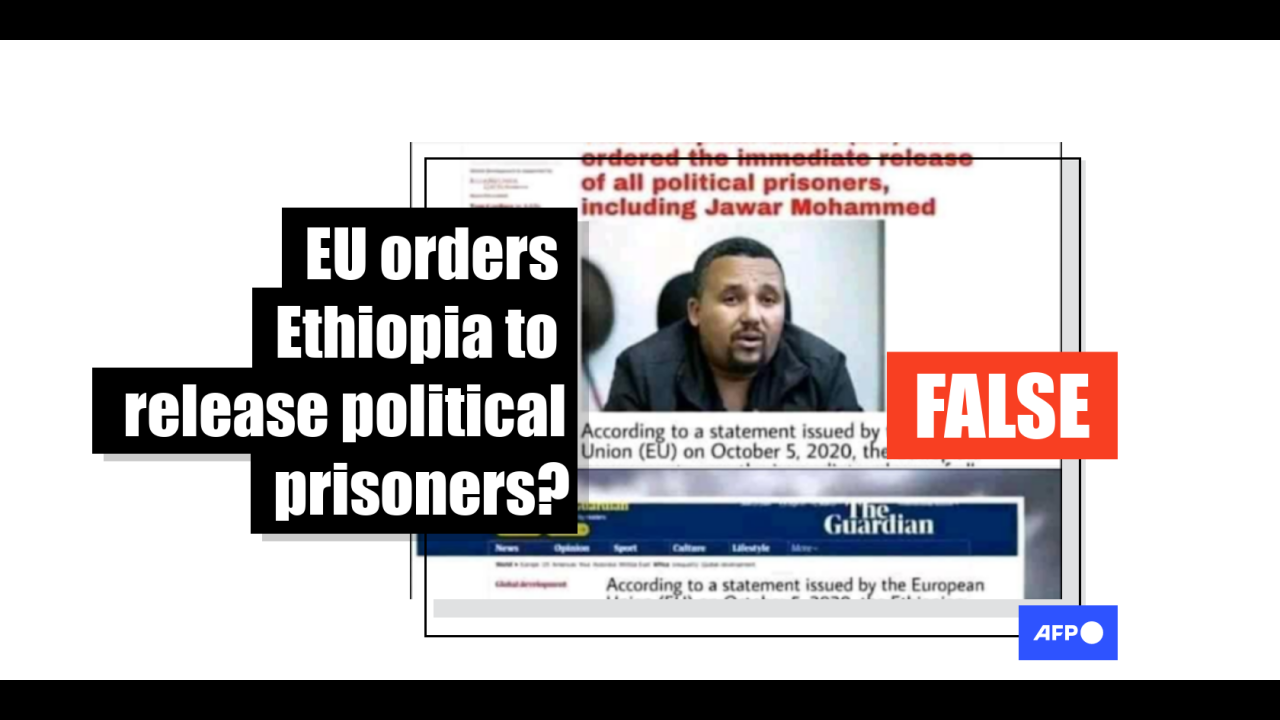No recent statements on Ethiopia have been issued by the EU, as this doctored image claims
