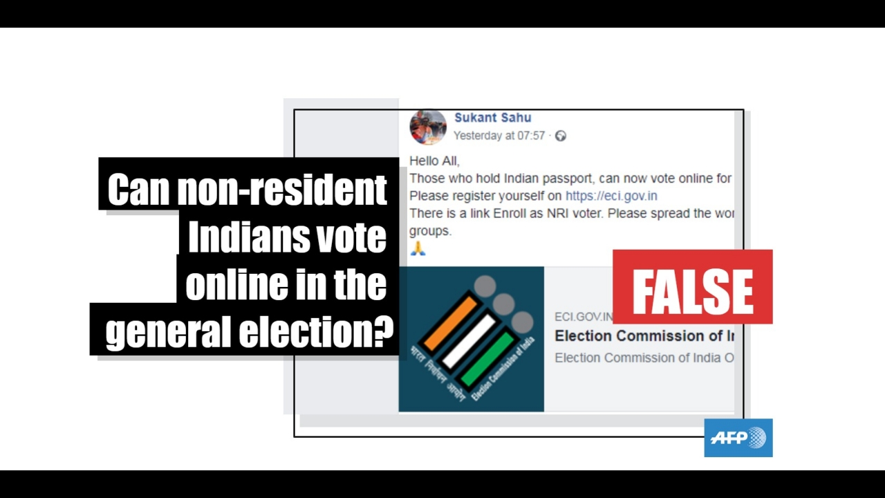 No, non-resident Indians cannot vote online during general